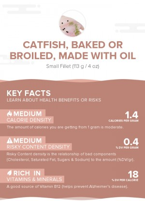 Catfish, baked or broiled, made with oil