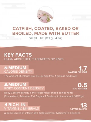Catfish, coated, baked or broiled, made with butter