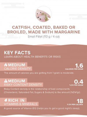Catfish, coated, baked or broiled, made with margarine