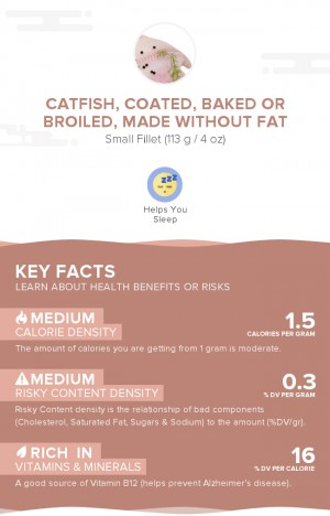 Catfish, coated, baked or broiled, made without fat