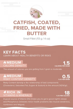 Catfish, coated, fried, made with butter