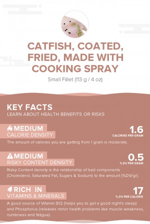 Catfish, coated, fried, made with cooking spray