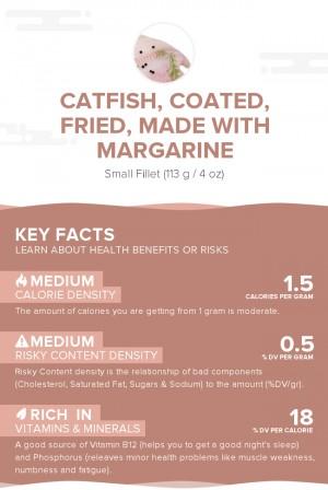 Catfish, coated, fried, made with margarine