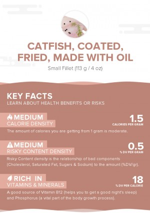 Catfish, coated, fried, made with oil