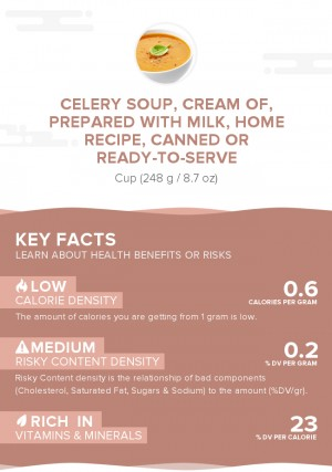 Celery soup, cream of, prepared with milk, home recipe, canned or ready-to-serve