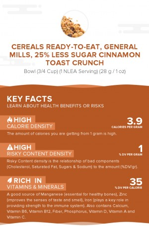 Cereals ready-to-eat, GENERAL MILLS, 25% Less Sugar CINNAMON TOAST CRUNCH