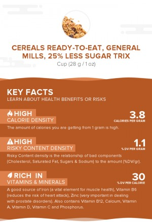 Cereals ready-to-eat, GENERAL MILLS, 25% Less Sugar TRIX