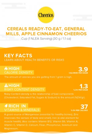 Cereals ready-to-eat, GENERAL MILLS, APPLE CINNAMON CHEERIOS