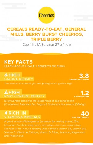 Cereals ready-to-eat, GENERAL MILLS, Berry Burst CHEERIOS, Triple Berry
