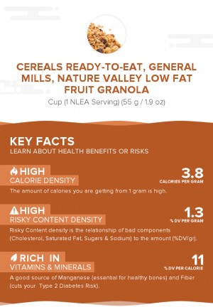 Cereals ready-to-eat, GENERAL MILLS, NATURE VALLEY LOW FAT FRUIT GRANOLA