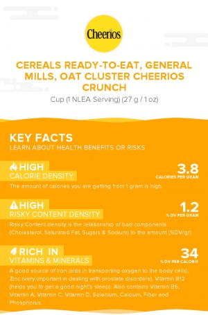Cereals ready-to-eat, GENERAL MILLS, Oat Cluster CHEERIOS Crunch