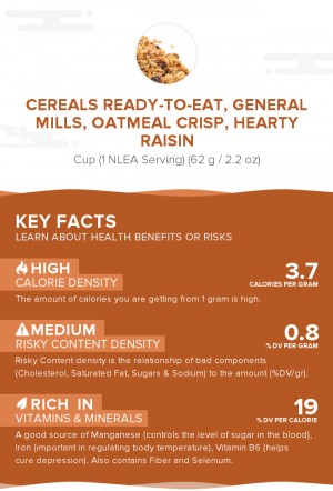 Cereals ready-to-eat, GENERAL MILLS, OATMEAL CRISP, Hearty Raisin