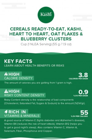 Cereals ready-to-eat, KASHI, HEART TO HEART, Oat Flakes & Blueberry Clusters