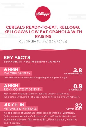 Cereals ready-to-eat, KELLOGG, KELLOGG'S Low Fat Granola with Raisins
