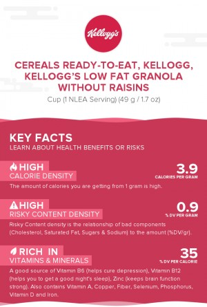 Cereals ready-to-eat, KELLOGG, KELLOGG'S Low Fat Granola without Raisins