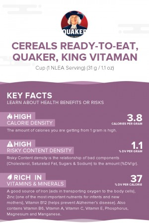 Cereals ready-to-eat, QUAKER, KING VITAMAN