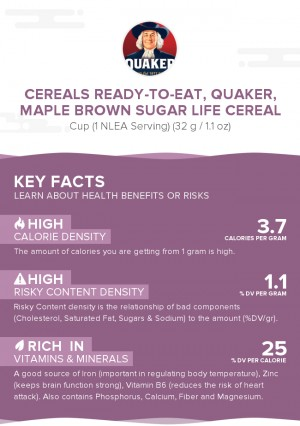 Cereals ready-to-eat, QUAKER, Maple Brown Sugar LIFE Cereal