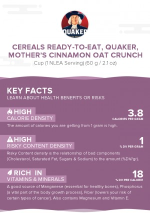 Cereals ready-to-eat, QUAKER, MOTHER'S Cinnamon Oat Crunch