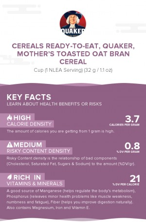 Cereals ready-to-eat, QUAKER, MOTHER'S Toasted Oat Bran cereal