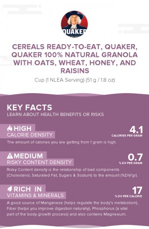 Cereals ready-to-eat, QUAKER, QUAKER 100% Natural Granola with Oats, Wheat, Honey, and Raisins