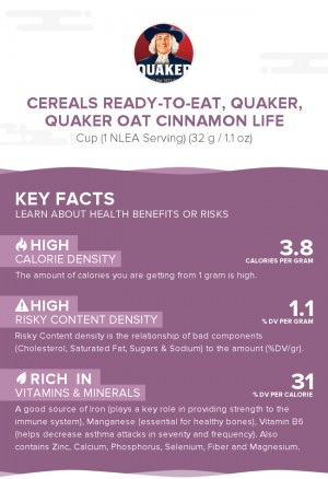 Cereals ready-to-eat, QUAKER, QUAKER OAT CINNAMON LIFE