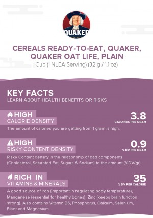 Cereals ready-to-eat, QUAKER, QUAKER OAT LIFE, plain