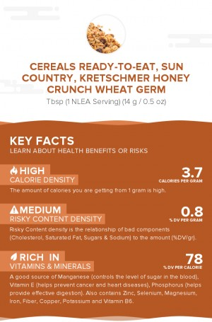 Cereals ready-to-eat, SUN COUNTRY, KRETSCHMER Honey Crunch Wheat Germ