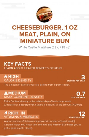 Cheeseburger, 1 oz meat, plain, on miniature bun