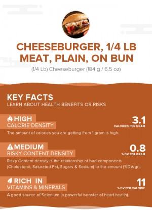 Cheeseburger, 1/4 lb meat, plain, on bun