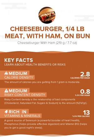 Cheeseburger, 1/4 lb meat, with ham, on bun
