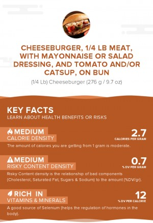 Cheeseburger, 1/4 lb meat, with mayonnaise or salad dressing, and tomato and/or catsup, on bun