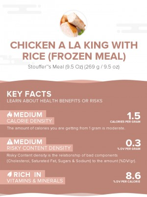 Chicken a la king with rice (frozen meal)