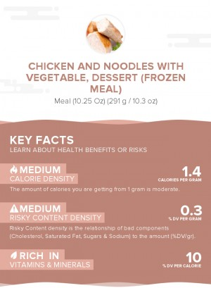 Chicken and noodles with vegetable, dessert (frozen meal)
