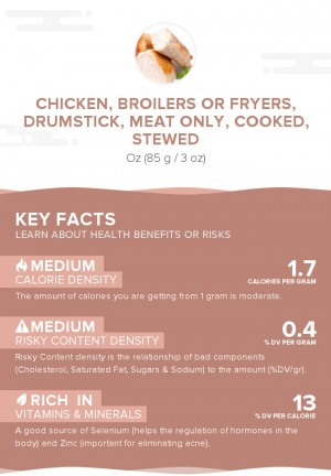 Chicken, broilers or fryers, drumstick, meat only, cooked, stewed