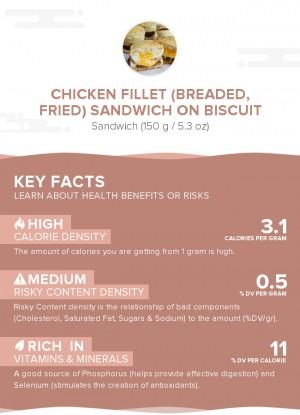 Chicken fillet (breaded, fried) sandwich on biscuit