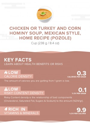 Chicken or turkey and corn hominy soup, Mexican style, home recipe (Pozole)