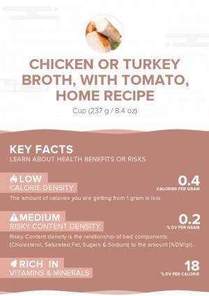 Chicken or turkey broth, with tomato, home recipe