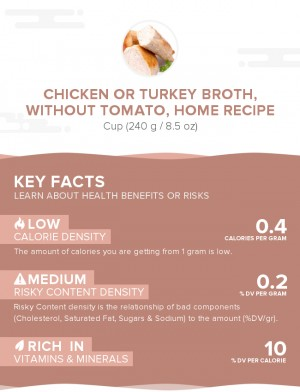 Chicken or turkey broth, without tomato, home recipe