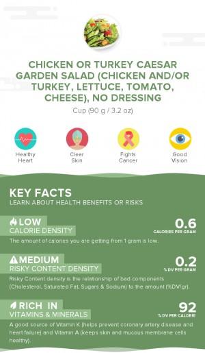 Chicken or turkey caesar garden salad (chicken and/or turkey, lettuce, tomato, cheese), no dressing
