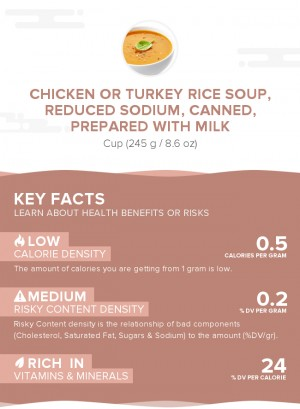 Chicken or turkey rice soup, reduced sodium, canned, prepared with milk