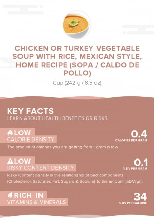 Chicken or turkey vegetable soup with rice, Mexican style, home recipe (Sopa / Caldo de Pollo)