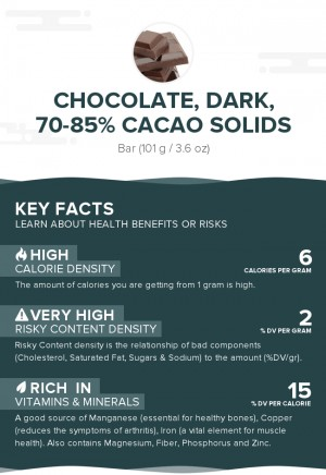 Chocolate, dark, 70-85% cacao solids