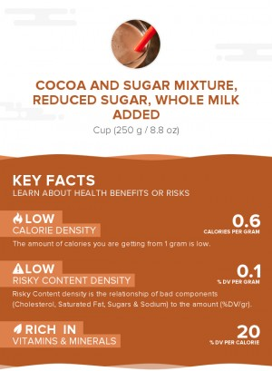 Cocoa and sugar mixture, reduced sugar, whole milk added