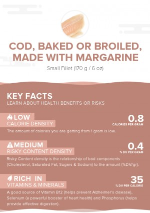 Cod, baked or broiled, made with margarine