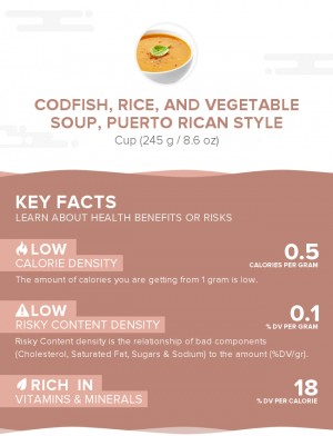 Codfish, rice, and vegetable soup, Puerto Rican style