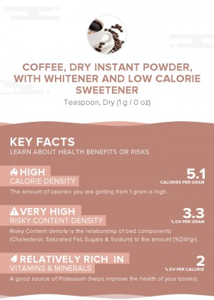 Coffee, dry instant powder, with whitener and low calorie sweetener