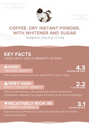 Coffee, dry instant powder, with whitener and sugar