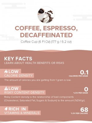 Coffee, espresso, decaffeinated