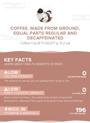 Coffee, made from ground, equal parts regular and decaffeinated