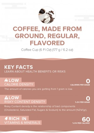 Coffee, made from ground, regular, flavored